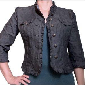 Sandro black denim ruffle-edged 3/4-sleeve jacket